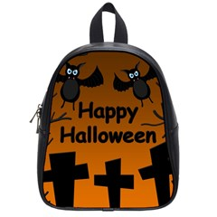 Happy Halloween   Bats On The Cemetery School Bags (small)  by Valentinaart