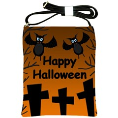 Happy Halloween   Bats On The Cemetery Shoulder Sling Bags by Valentinaart