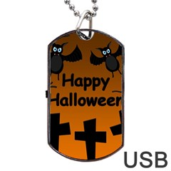 Happy Halloween   Bats On The Cemetery Dog Tag Usb Flash (one Side) by Valentinaart