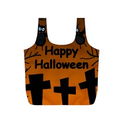 Happy Halloween   Bats On The Cemetery Full Print Recycle Bags (s)  by Valentinaart