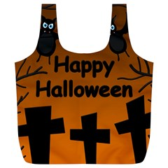 Happy Halloween   Bats On The Cemetery Full Print Recycle Bags (l)  by Valentinaart