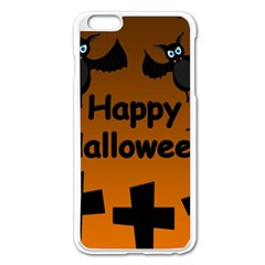 Happy Halloween - Bats On The Cemetery Apple Iphone 6 Plus/6s Plus Enamel White Case by Valentinaart