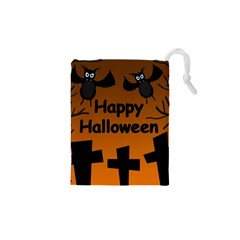 Happy Halloween   Bats On The Cemetery Drawstring Pouches (xs)  by Valentinaart