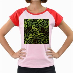 Free Green Nature Leaves Seamless Women s Cap Sleeve T Shirt by AnjaniArt