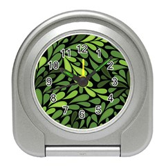Free Green Nature Leaves Seamless Travel Alarm Clocks by AnjaniArt