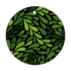 Free Green Nature Leaves Seamless Round Ornament (two Sides)