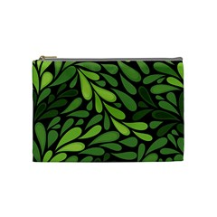 Free Green Nature Leaves Seamless Cosmetic Bag (medium)  by AnjaniArt
