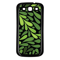 Free Green Nature Leaves Seamless Samsung Galaxy S3 Back Case (black) by AnjaniArt