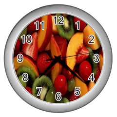 Fruit Salad Wall Clocks (silver)  by AnjaniArt