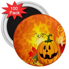 Halloween Pumpkin 3  Magnets (100 Pack)