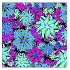 Vibrant Floral Collage Print Large Satin Scarf (square) by dflcprintsclothing