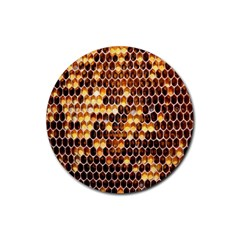 Honey Honeycomb Jpeg Rubber Coaster (round)  by AnjaniArt