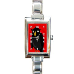 Halloween   Old Raven Rectangle Italian Charm Watch by Valentinaart