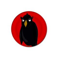 Halloween   Old Raven Rubber Coaster (round)  by Valentinaart