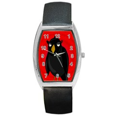 Halloween   Old Raven Barrel Style Metal Watch by Valentinaart
