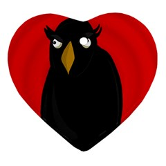 Halloween   Old Raven Heart Ornament (2 Sides) by Valentinaart