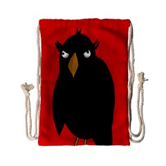 Halloween   Old Raven Drawstring Bag (small) by Valentinaart