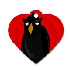 Halloween   Old Raven Dog Tag Heart (one Side) by Valentinaart