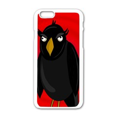 Halloween   Old Raven Apple Iphone 6/6s White Enamel Case by Valentinaart
