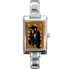 Halloween   Old Black Rawen Rectangle Italian Charm Watch by Valentinaart