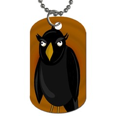 Halloween   Old Black Rawen Dog Tag (one Side) by Valentinaart