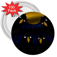 Halloween   Black Crow Flock 3  Buttons (100 Pack)  by Valentinaart