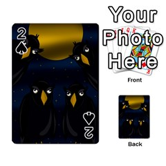 Halloween   Black Crow Flock Playing Cards 54 Designs  by Valentinaart