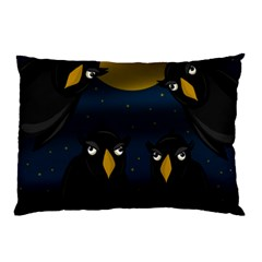 Halloween   Black Crow Flock Pillow Case (two Sides) by Valentinaart