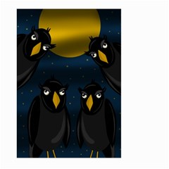 Halloween   Black Crow Flock Large Garden Flag (two Sides) by Valentinaart