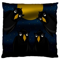 Halloween   Black Crow Flock Standard Flano Cushion Case (two Sides) by Valentinaart