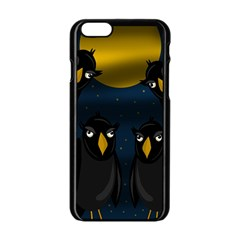 Halloween   Black Crow Flock Apple Iphone 6/6s Black Enamel Case by Valentinaart