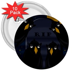 Halloween   Rip 3  Buttons (10 Pack)  by Valentinaart