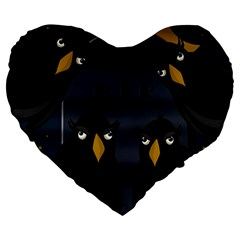 Halloween   Rip Large 19  Premium Flano Heart Shape Cushions by Valentinaart