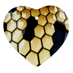 Honeycomb Yellow Rendering Ultra Ornament (heart)  by AnjaniArt