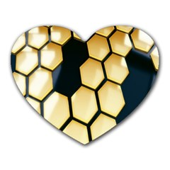 Honeycomb Yellow Rendering Ultra Heart Mousepads by AnjaniArt