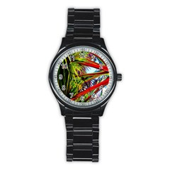 Kostenloses Leaves Stainless Steel Round Watch by AnjaniArt