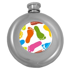 Lip Handprint Round Hip Flask (5 Oz) by AnjaniArt