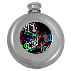Miami Text Round Hip Flask (5 Oz)