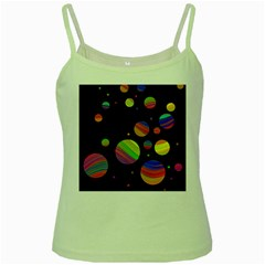 Colorful Galaxy Green Spaghetti Tank by Valentinaart