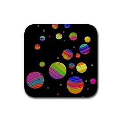 Colorful Galaxy Rubber Square Coaster (4 Pack)  by Valentinaart