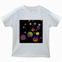 Colorful Galaxy Kids White T Shirts by Valentinaart