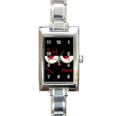 Halloween  trick Or Treat    Monsters Red Eyes Rectangle Italian Charm Watch by Valentinaart