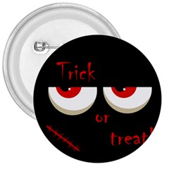 Halloween  trick Or Treat    Monsters Red Eyes 3  Buttons by Valentinaart