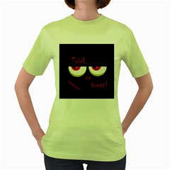 Halloween  trick Or Treat    Monsters Red Eyes Women s Green T Shirt by Valentinaart