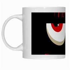 Halloween  trick Or Treat    Monsters Red Eyes White Mugs by Valentinaart