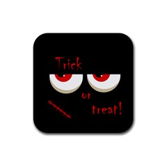 Halloween  trick Or Treat    Monsters Red Eyes Rubber Coaster (square)  by Valentinaart