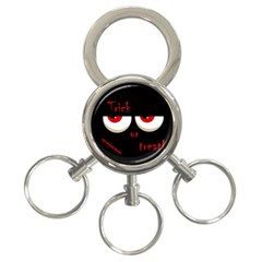 Halloween  trick Or Treat    Monsters Red Eyes 3 Ring Key Chains by Valentinaart