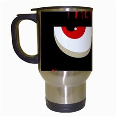 Halloween  trick Or Treat    Monsters Red Eyes Travel Mugs (white) by Valentinaart