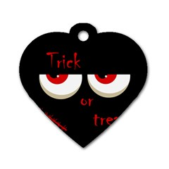 Halloween  trick Or Treat    Monsters Red Eyes Dog Tag Heart (two Sides) by Valentinaart