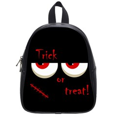 Halloween  trick Or Treat    Monsters Red Eyes School Bags (small)  by Valentinaart